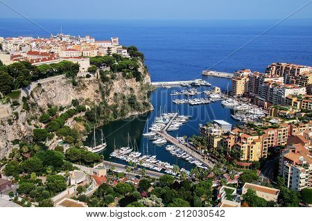View Of Monaco City And Fontvieille With Boat Marina In Monaco.