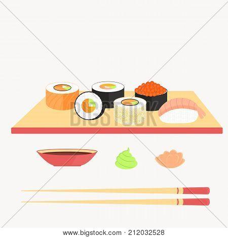 Sushi set, rolls with salmon, nigiri with shrimp, maki. Traditional Japanese food