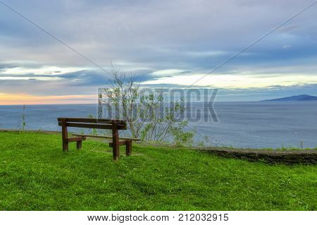 A bench looking at the horizon in Getaria