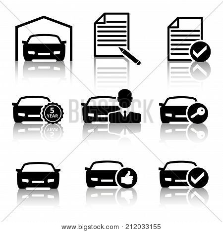 Set of black car icons for buying a car in different order which are reflected on a white isolated background