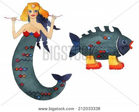 Mermaid at cap with ear-flaps and fish at valenki on a white background. Mermaid in a cap with earflaps and a fish in boots with galoshes on a white background. Humor