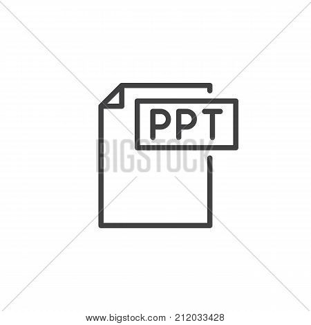 Ppt format document line icon, outline vector sign, linear style pictogram isolated on white. File formats symbol, logo illustration. Editable stroke