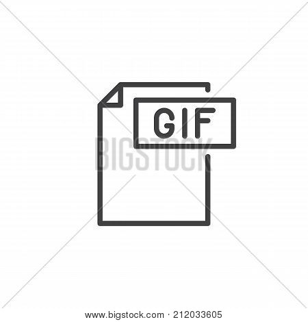 Gif format document line icon, outline vector sign, linear style pictogram isolated on white. File formats symbol, logo illustration. Editable stroke
