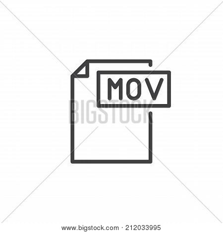 Mov format document line icon, outline vector sign, linear style pictogram isolated on white. File formats symbol, logo illustration. Editable stroke