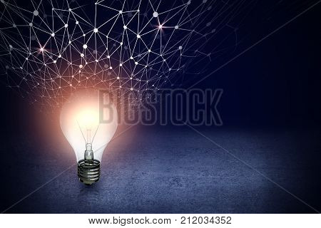 Abstract glowing light bulb with digital network on dark concrete background with copy space. Idea and imagination concept. 3D Rendering