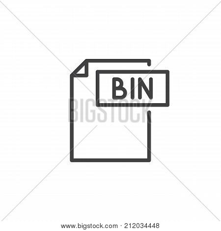Bin format document line icon, outline vector sign, linear style pictogram isolated on white. File formats symbol, logo illustration. Editable stroke