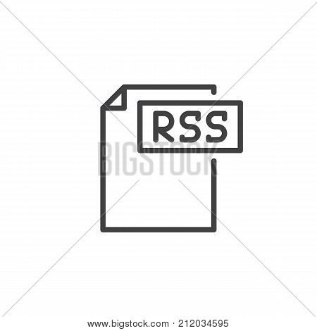 Rss format document line icon, outline vector sign, linear style pictogram isolated on white. File formats symbol, logo illustration. Editable stroke