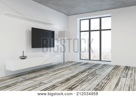 Modern Living Room With Blank Tv Side