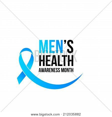 Movember Men Health Man Prostate Cancer Awareness November Month Vector Blue Ribbon