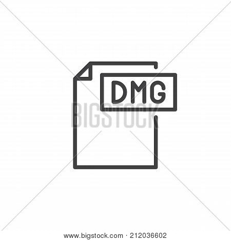 Dmg format document line icon, outline vector sign, linear style pictogram isolated on white. File formats symbol, logo illustration. Editable stroke