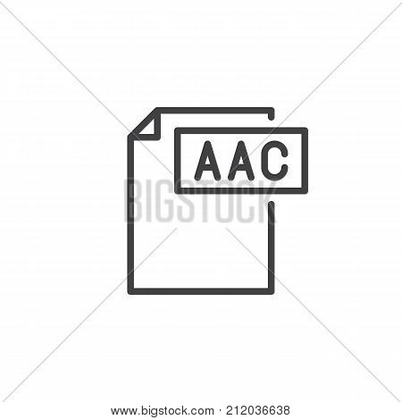 Aac format document line icon, outline vector sign, linear style pictogram isolated on white. File formats symbol, logo illustration. Editable stroke