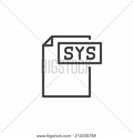 Sys format document line icon, outline vector sign, linear style pictogram isolated on white. File formats symbol, logo illustration. Editable stroke