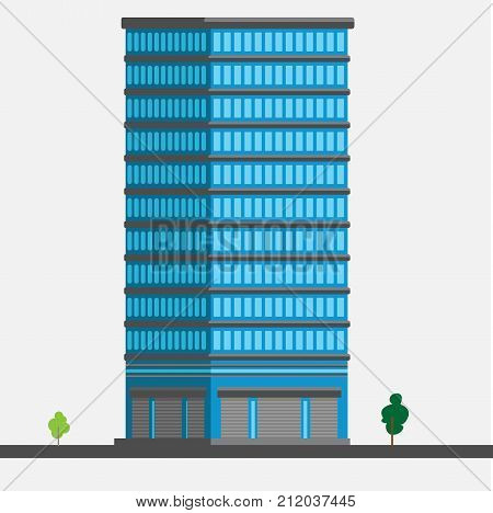 Skyscraper with show-window stands with rib and trees at the bottom vector illustration on white background
