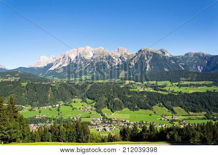 Dachstein Mountains Over Schladming, Northern Limestone Alps, Austria