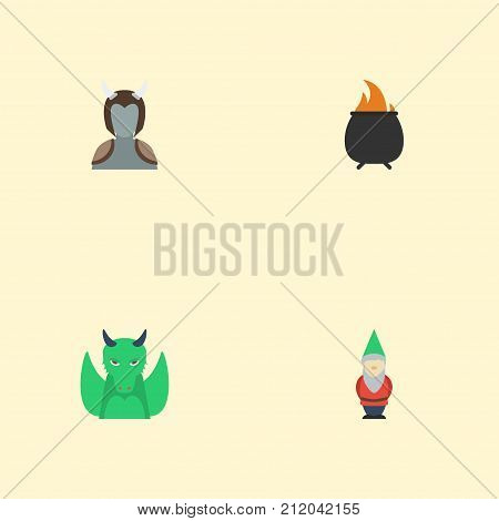 Flat Icons Gnome, Hell, Dinosaur And Other Vector Elements