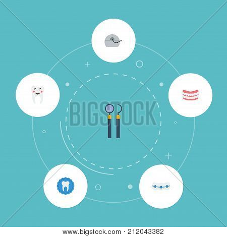 Flat Icons Equipment, Halitosis, Dentition And Other Vector Elements