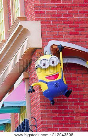 Osaka, JAPAN - NOVEMBER 03 2017: Art Objects of Minions from Despicable Me Minion Mayhem Movie at Minion Park in Universal Studios JAPAN.Universal Studios JAPAN is a theme park in Osaka.