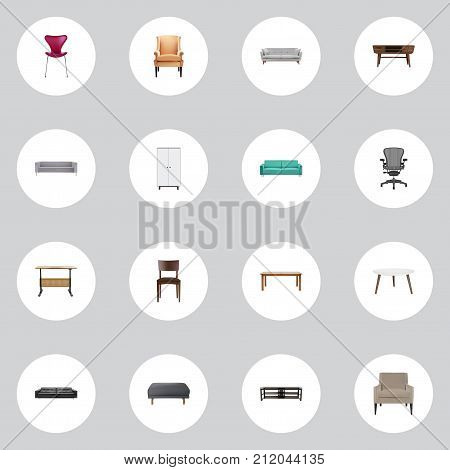 Realistic Comfortable, Worktop, Sofa And Other Vector Elements