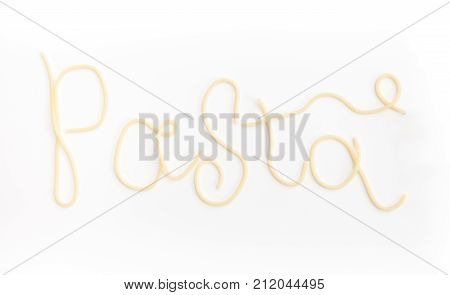 Word Pata Is Written With Plain Cooked Spaghetti Pasta, On White Background.