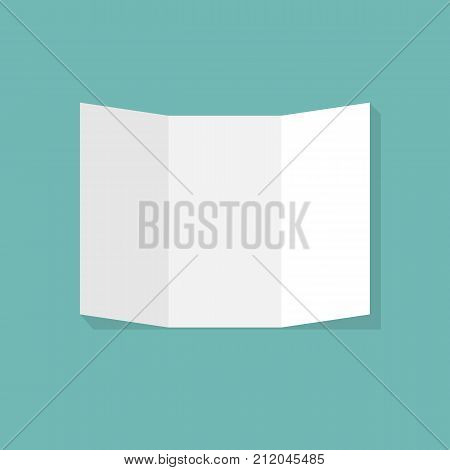 Blank white folding paper flyer. Trifold paper brochure. Stationery trifold brochure. Brochure presentation. Mockup design. Vector illustration flat style. Isolated on white background. poster