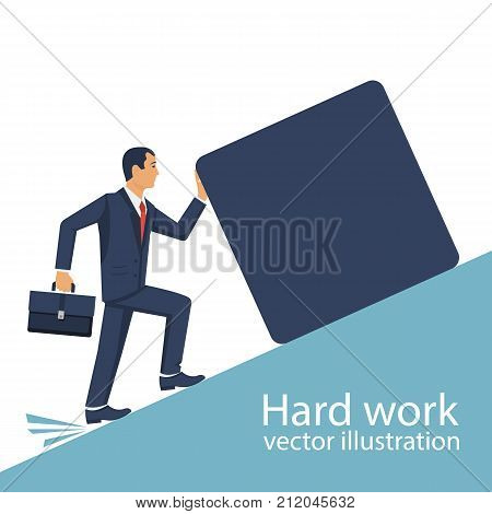 Hard work concept. Businessman lift weight up. Raise cargo. Vector illustration flat design. Isolated on white background. Efforts in work. Male pushes burden forward. Holding big stone. Hard way.