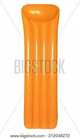 Orange inflatable floating pool raft mattress isolated on white background taken closeup.