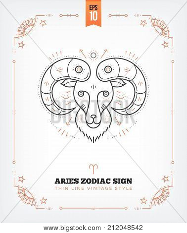 Vintage thin line Aries zodiac sign label. Retro vector astrological symbol, mystic, sacred geometry element, emblem, logo. Stroke outline illustration. Isolated on white background.