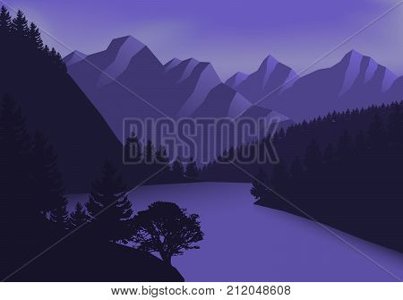 Abstract image of a sunset over the mountains at the background and river or lake, forest at the foreground. Mountain landscape. vector illustration. Flat design.