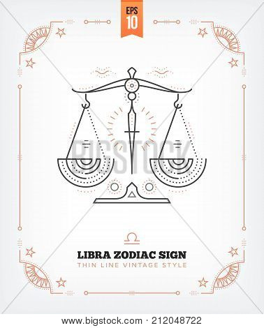 Vintage thin line Libra zodiac sign label. Retro vector astrological symbol, mystic, sacred geometry element, emblem, logo. Stroke outline illustration. Isolated on white background.