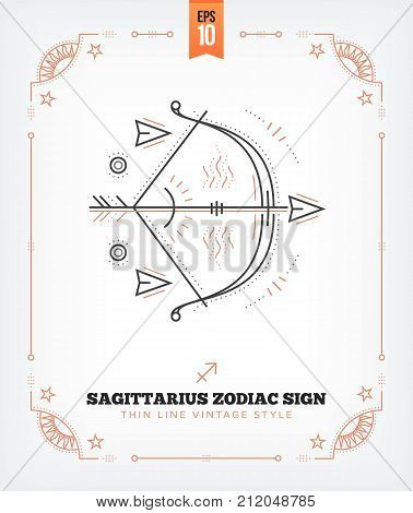Vintage thin line Sagittarius zodiac sign label. Retro vector astrological symbol, mystic, sacred geometry element, emblem, logo. Stroke outline illustration. Isolated on white background.