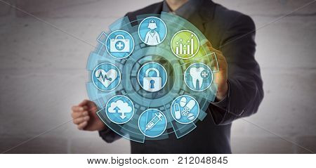 Faceless data analyst activating an analytics icon in a health care monitoring interface. Concept for actionable insight reporting requirements compliance and improvement in healthcare sector.