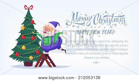 Cute cartoon blue suit Santa Claus decorating Christmas tree Merry Christmas vector illustration Greeting card poster horizontal banner