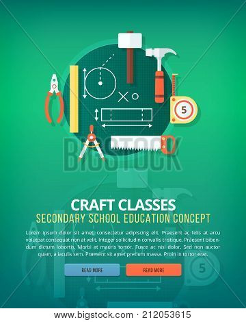 Crafting and handmade stuff. Education and science vertical layout concepts. Flat modern style.