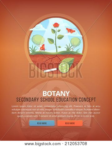 Education and science concept illustrations. Botany. Science of life and origin of species. Flat vector design banner.
