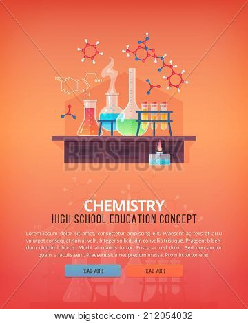 Education and science concept illustrations. Organic chemistry. Science of life and origin of species. Flat vector design banner.