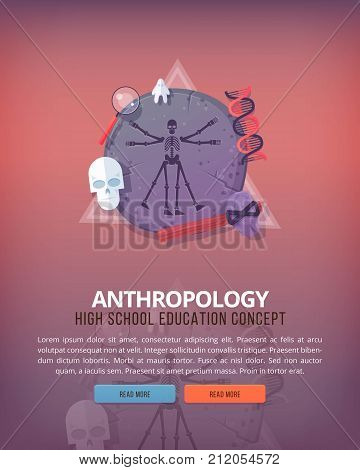Education and science concept illustrations. Anthropology . Science of life and origin of species. Flat vector design banner.