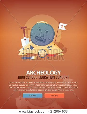 Education and science concept illustrations. Archeology Science of life and origin of species. Flat vector design banner.