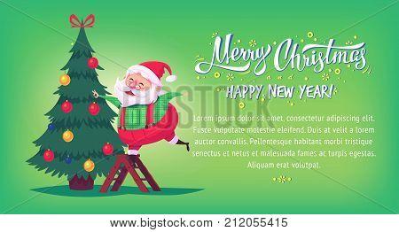 Cute cartoon Santa Claus decorating Christmas tree Merry Christmas vector illustration Greeting card poster horizontal banner