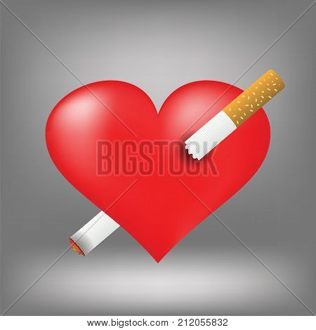 Illustration with cigarette and heart on grey background. Red heart pierced by burning sigarette.