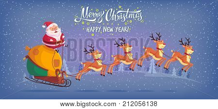 Cute cartoon Santa Claus riding reindeer sleigh Merry Christmas vector illustration Greeting card poster horizontal banner