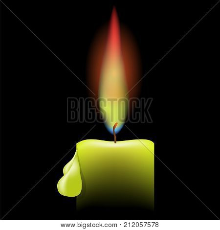 Burning Single Candle on a Black Background. Drops of Wax on the Candle. Bright Flame of a Candle.