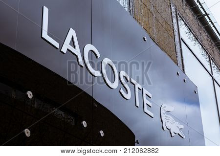 Lacoste Logo At Metzingen Outlet Shopping Complex In Germany, Europe On November 1, 2017