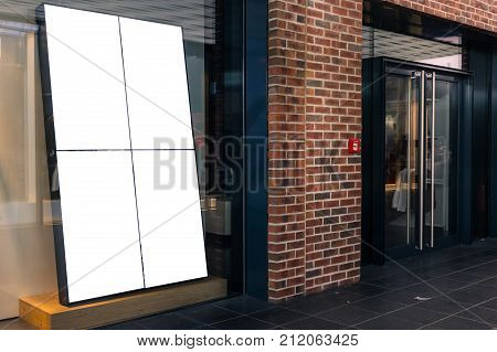 Shop Store Front Window Display Upscale Mall Mockup White Isolated Advertisement Blank