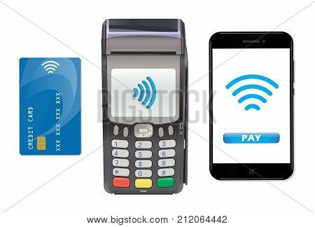 POS Terminal with smartphone and credit card. Contactless payment. Near-field communication protocol. Vector Icon. Wifi Mobile Pay. Wireless bank mobile NFC Credit Card payments