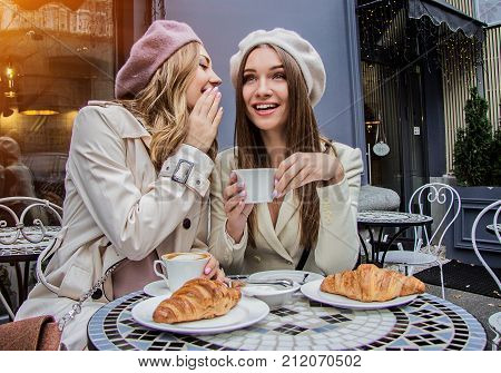 Gossips With Best Friend. Women Talking In Cafe.