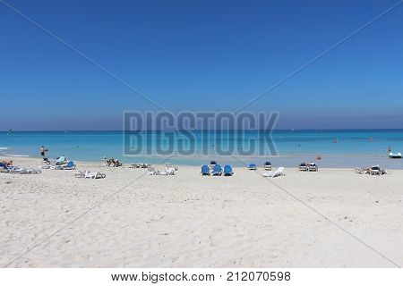 Blue sea immensity on the beautiful beach of Varadero.