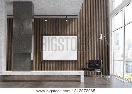 Wooden Living Room, Tv Set, Gray Fireplace