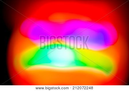 Red Orbs on black background ambient colors time lapse long exposure colorful rainbow lights on night made abstract pattern  , red ,  , purple , yellow Orbs poster