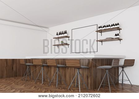 White And Dark Wooden Bar, Poster Side