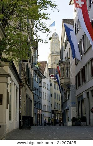 Zurich Flagged Old Town And Grossmunster